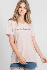 Tres Bien Graphic Tee Life Is Beautiful V-Neck Tee