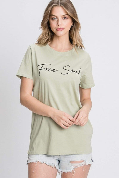 Tres Bien Graphic Tee Sage / Small Free Soul Tee