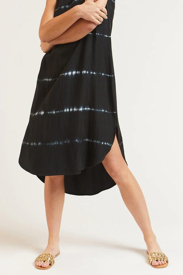 Velvet Heart Dress Merlyn Black White Stripe Tie Dye Midi Dress