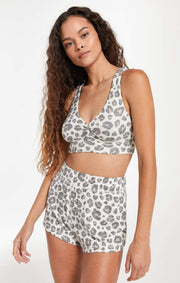 Z Supply Twisted Brushed Slub Leopard Bra Top - Z Supply - Teal Poppy Clothing Boutique