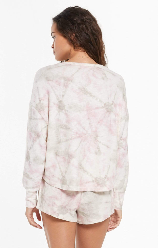 Z Supply Top Sun Ray Faded Tie-Dye Pullover