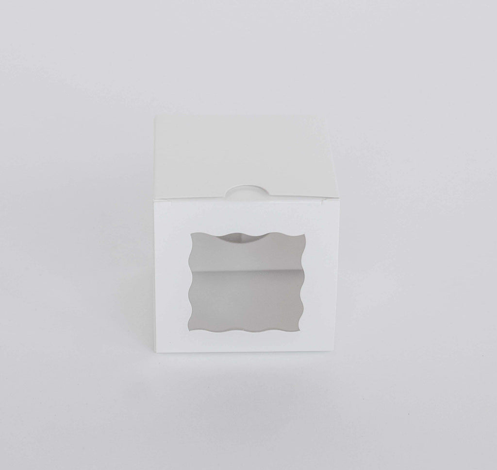 BOXXD™ CupcakeBoxes 1 Mini Cupcake Boxes with Clear Window - Gloss White