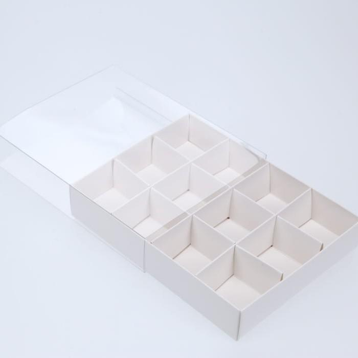 BOXXD™ ChocolateBox 12 Chocolate Box with Clear Slide Cover - Gloss White