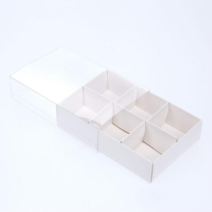 BOXXD™ ChocolateBox 6 Chocolate Box with Clear Slide Cover - Gloss White
