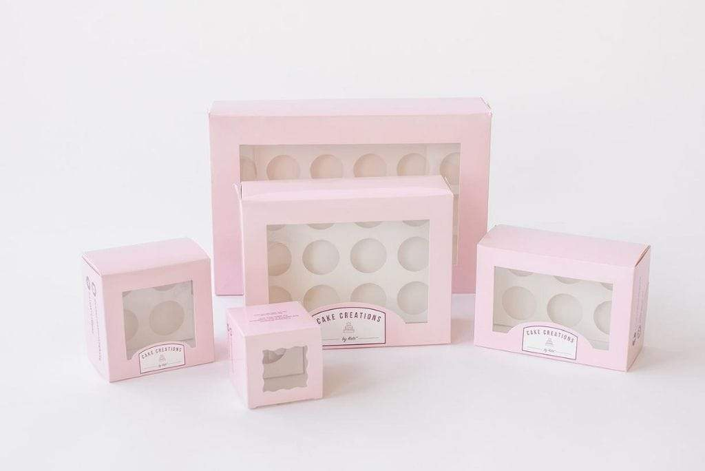 BOXXD™ CustomCupcakeBoxes Custom Branded 2 Mini Cupcake Dessert Box with Insert