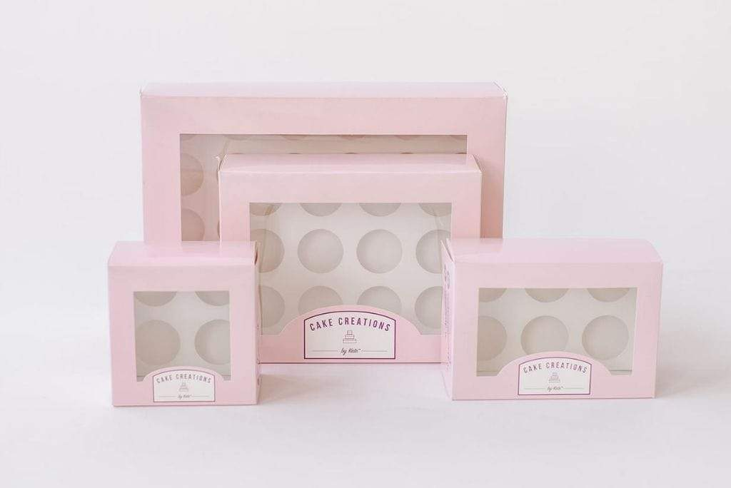 BOXXD™ CustomCupcakeBoxes Custom Branded 4 Mini Cupcake Dessert Box with Insert