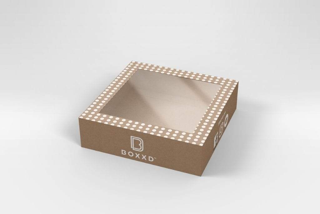BOXXD™ CookieDessertBox Custom Printed 18 x 18 x 5cm Medium Cookie Biscuit Box with Slide Cover & Clear Window