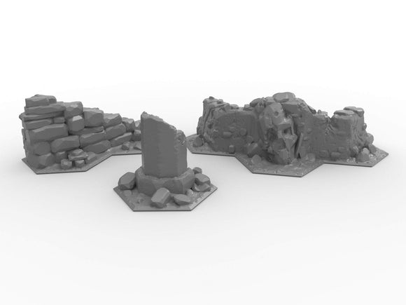 Warhead Studio Fantasy Terrain Hex Ruined Terrain - 3 pieces