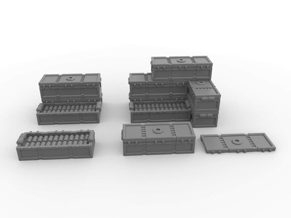 Warhead Studio Sci-Fi Terrain Ammo Crates Set - 16 pieces