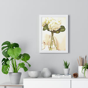 """Still Life - Hydrangeas"" Custom Print Framed Vertical Poster"