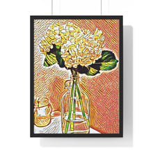 "Load image into Gallery viewer, ""Still Life - Hydrangeas - 2"" Custom Graphic Premium Framed Vertical Poster"