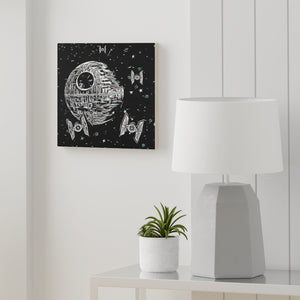 """Death Star"" Graphic Art on Wood Canvas"