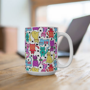 """Cartoon Cats"" Mug 15oz"