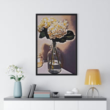 "Load image into Gallery viewer, ""Still Life - Hydrangeas - 3"" Custom Graphic Premium Framed Vertical Poster"
