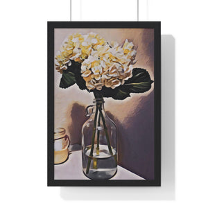 """Still Life - Hydrangeas - 3"" Custom Graphic Premium Framed Vertical Poster"