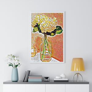 """Still Life - Hydrangeas - 2"" Custom Graphic Premium Framed Vertical Poster"