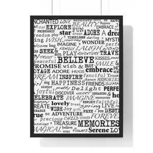 """Words"" Graphic Premium Framed Vertical Poster"