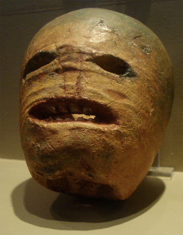 A traditional Irish turnip Jack-o'-lantern from the early 20th century. Photographed at the Museum of Country Life, Ireland.