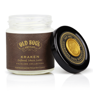 4 oz Soy Candle - Kraken (driftwood, tobacco, leather)