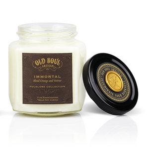 9 oz Soy Candle FRONT - Immortal (blood orange and vetiver)