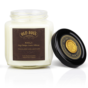 9 oz Soy Candle FRONT - Kali (nag champa, guava, hibiscus)