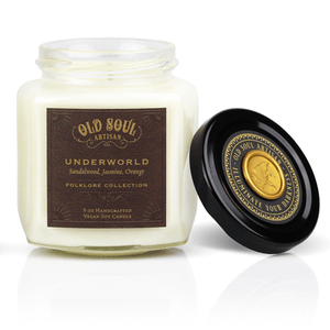 9 oz Soy Candle FRONT - Underworld (sandalwood, jasmine, orange)