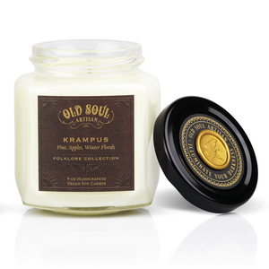 9 oz Soy Candle FRONT - Krampus (pine, apples, winter florals)