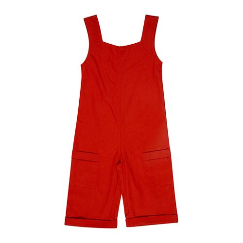 A rust jumpsuit red