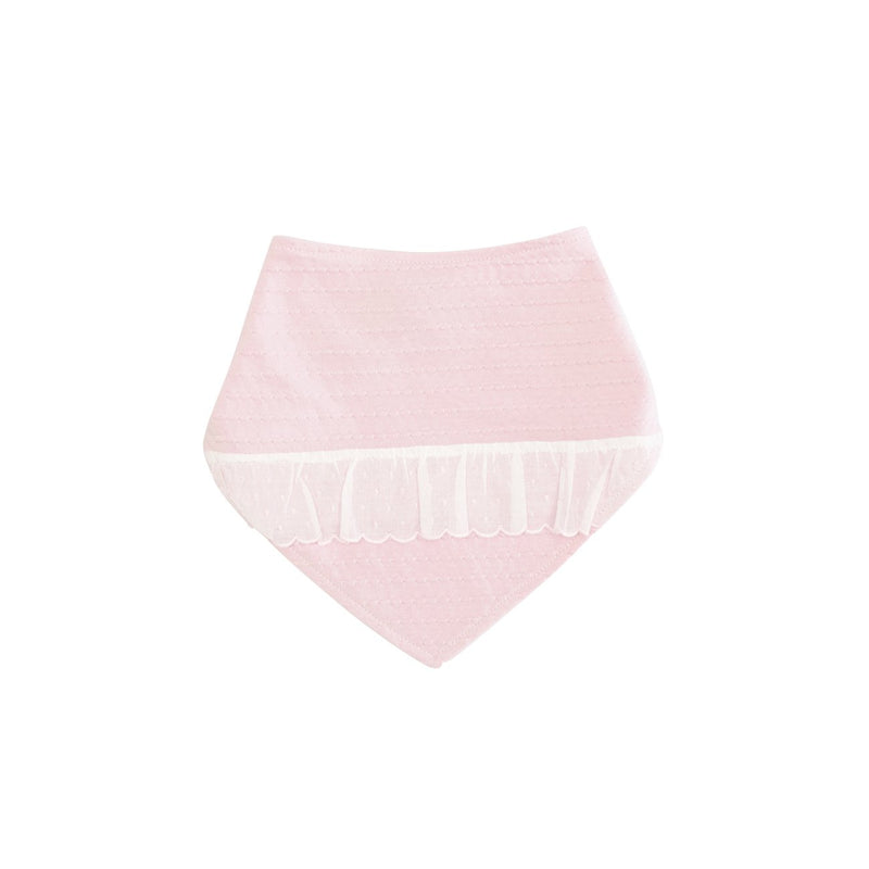A pink bib with lace