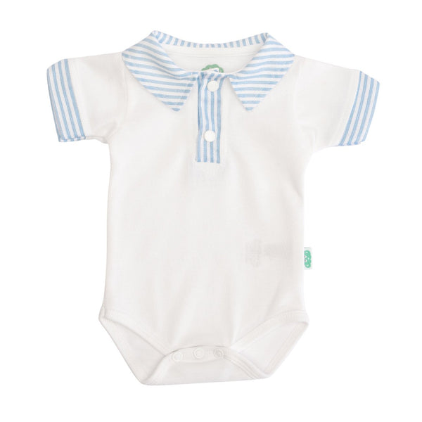 A white bodysuit with blue striped collar