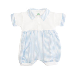 A blue and white striped romper
