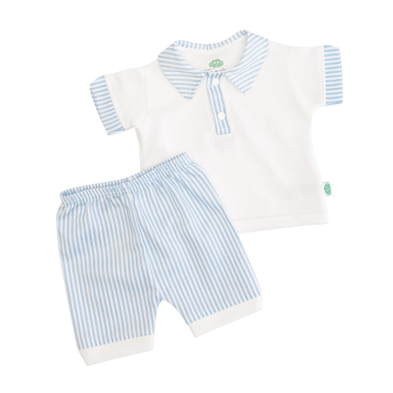 A blue and white striped set