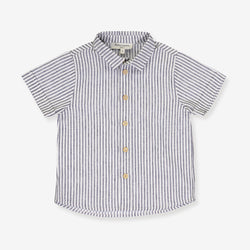 A grey stripes shirt short sleeve