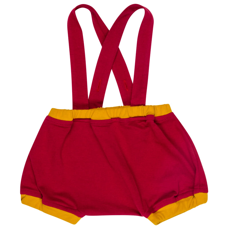 red straps romper for baby
