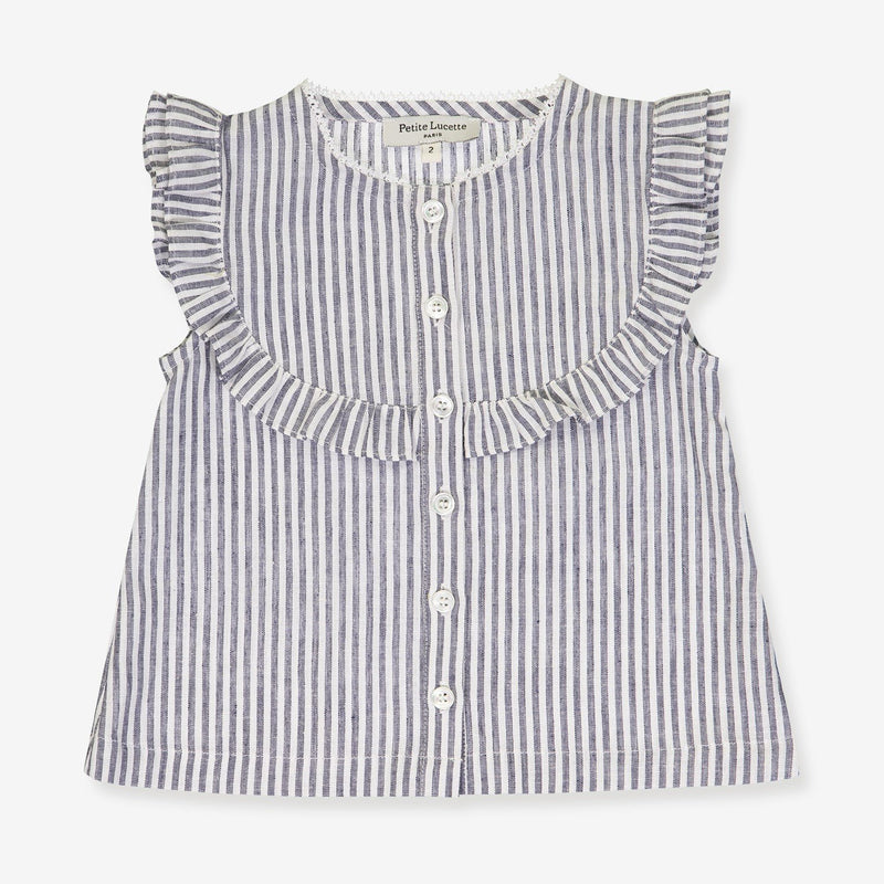 A Grey Stripes print blouse for girls
