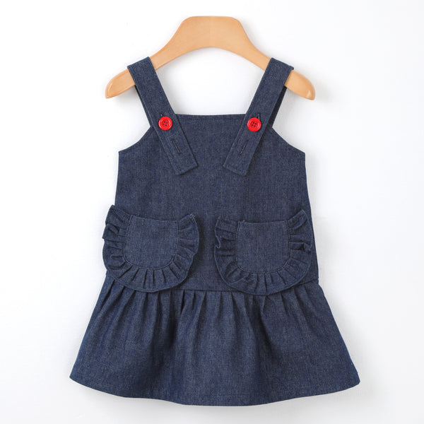 A denim suspenders dress