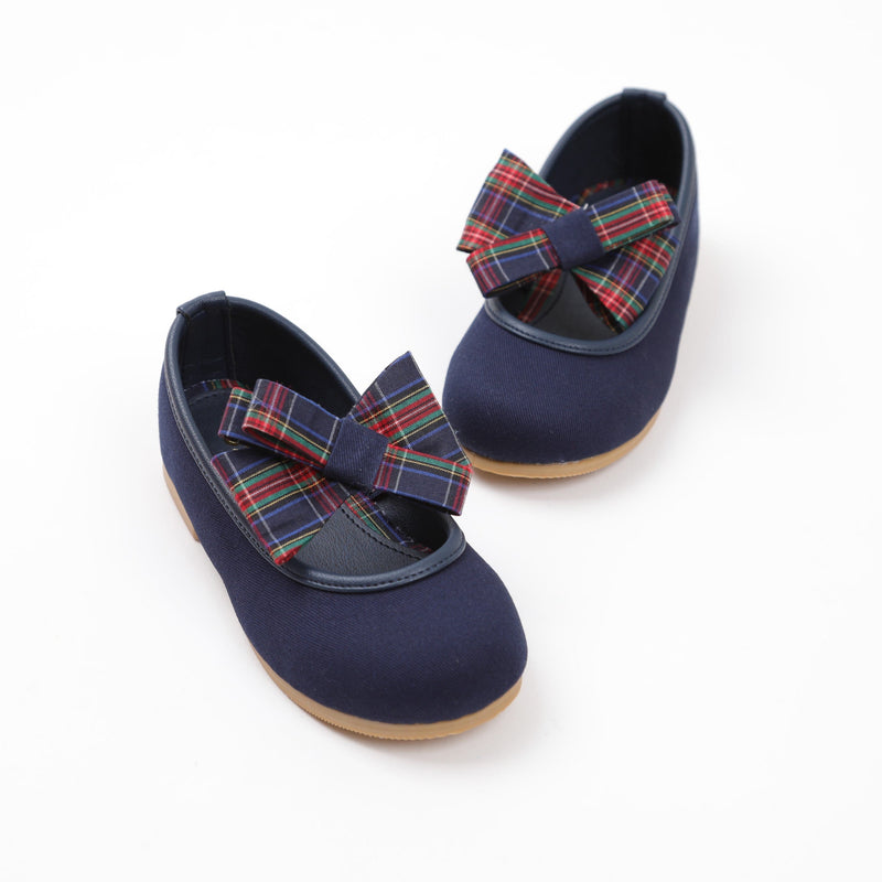 Navy blue ballerinas with check ribbon