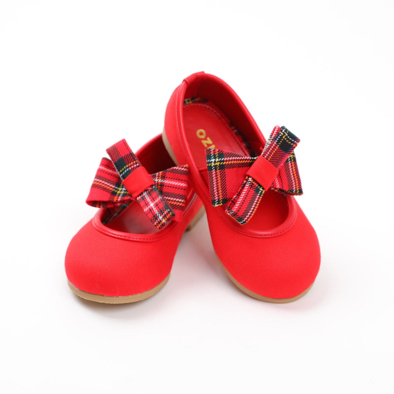 Red ballerinas with check ribbon