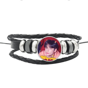TXT Leather Snap Button Bracelet