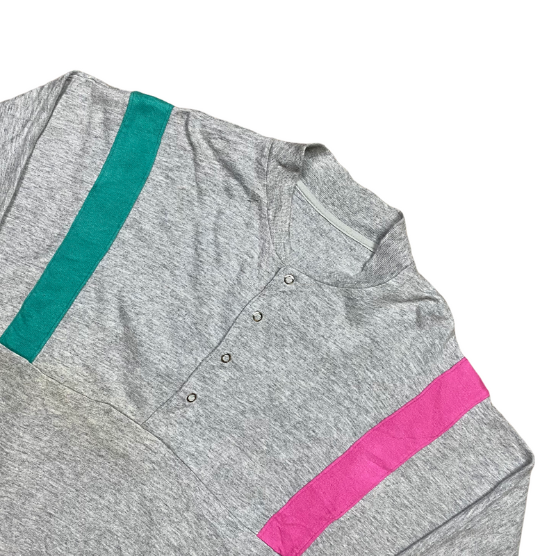 Vintage 80s Grey/Green/Pink Sweatshirt (L)