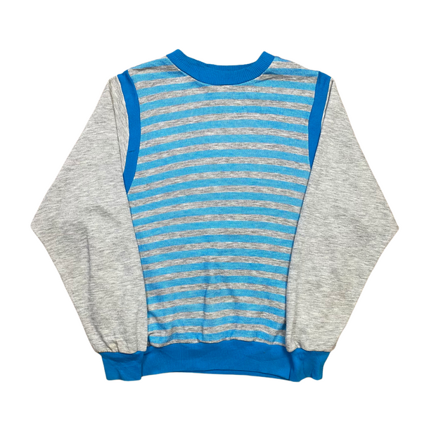 Vintage 80s Grey/Blue Striped Sweatshirt (S)