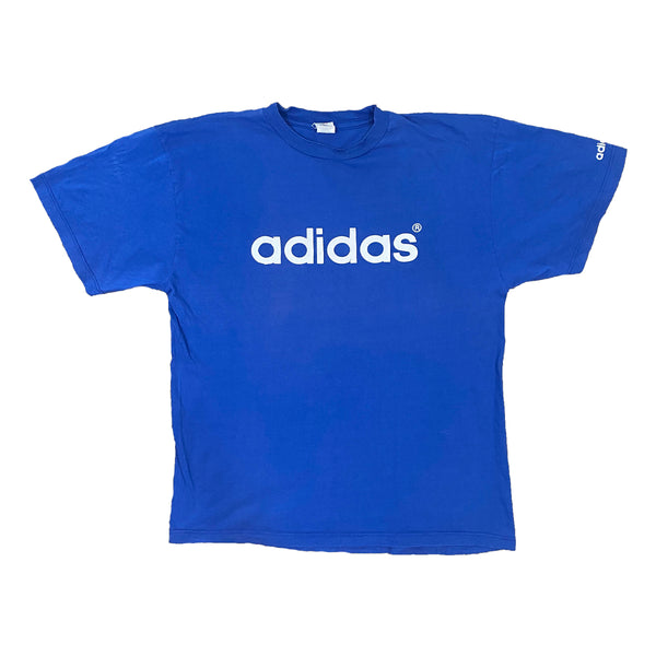 Vintage Adidas Spell Out Blue Tee (XL)