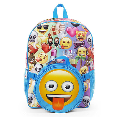 Emoji Girls Large Allover Print Backpack with Soft Lunch Box