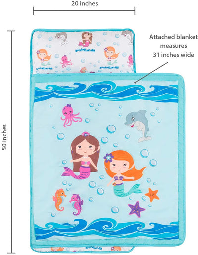 Everyday Kids Underwater Mermaids Toddler Nap Mat with Pillow