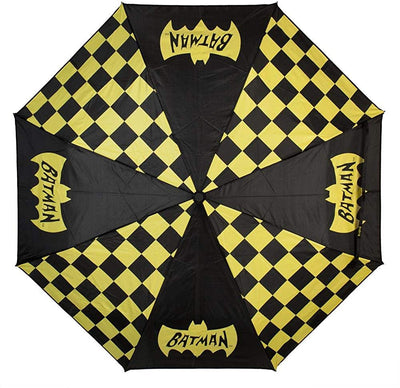 DC Batman Classic Logo and Checkered Panel 42 Auto-Open Umbrella