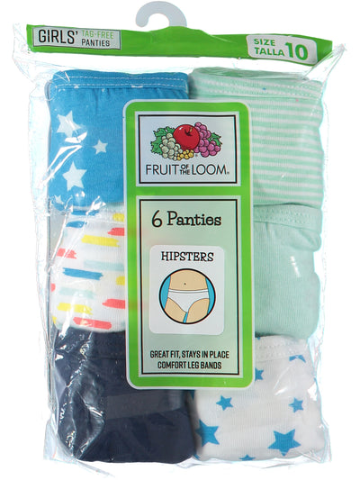 Fruit of the Loom Girls 6 Pack Cotton Hipsters