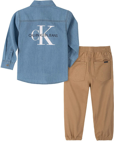 Calvin Klein Boys 2T-4T Denim Woven Jogger Set