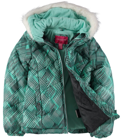 London Fog Girls 7-16 Bubble Jacket Scarf Set