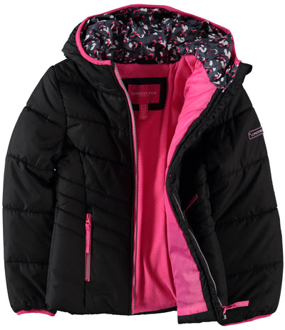 London Fog Girls 7-16 Puffer Bubble Jacket with Mittens