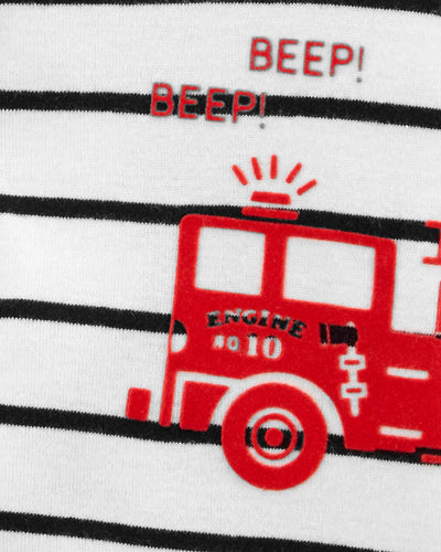 Carters Boys 0-24 Months Firetruck Striped Snap-Front Romper